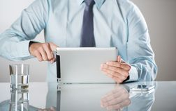 Business man with pc Stock Photo