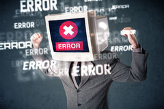 Business man with pc monitor on his head and error messages on t Stock Photography