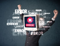 Business man with pc monitor on his head and error messages on t Stock Photos