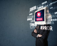 Business man with pc monitor on his head and error messages on t Stock Images