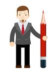 Business man with pencil Stock Images