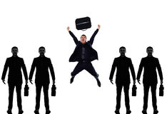 Business man people in a row triumphant Royalty Free Stock Photos