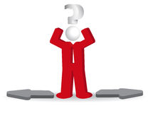 Business man, person and question mark and arows. Confusion Royalty Free Stock Images