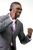Business man on the Phone. Is really excited Stock Photo