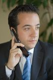 Business man with phone. Business man in suit and blue tie listing to cellphone. Office plants in background stock image