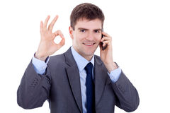 Business man on the phone approving Royalty Free Stock Photography