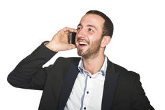 Business man at phone stock photography