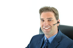 Business man on phone or customer service representative. Business or sales man on phone or customer service representative helping people Stock Photos