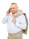 Business man with phone and jacket Royalty Free Stock Photography