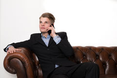 Business man with phone Stock Photography