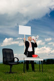 Business man with picket sign Stock Photography