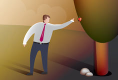 Business man picks fruit. Illustration of a business man picking fruit from the forbidden tree Royalty Free Stock Image