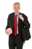 Business man with piggy bank. Business man will saving money for the company Royalty Free Stock Photos