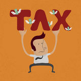 Business man pinned down by heavy tax word Royalty Free Stock Photography