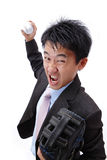 Business man pitching baseball Royalty Free Stock Image