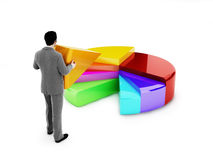 Business man placing a section of a 3d multicolored pie chart. Doing your part in growth of business concept.(sales,finance,development ect Stock Images