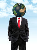 Business man with planet earth instead of head Stock Photography