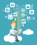 Business man play social media on tablet. Business man using a tablet sitting on a cloud with social media, communication icons Stock Photo