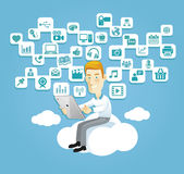 Business man play social media on tablet. Business man using a tablet sitting on a cloud with social media, communication icons Stock Photos