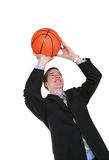 Business Man Playing Basketball Royalty Free Stock Image