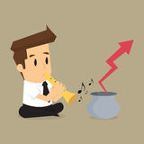 Business man playing flute, arrows out of the pot Stock Photo