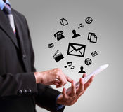 Business man playing modern mobile phone Stock Photo