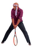 Business man playing tennis Stock Photos