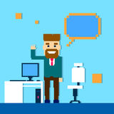 Business Man Point Finger Empty Copy Space, Businessman Office Workplace. Flat Vector Illustration Stock Photo