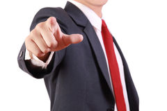 Business man point finger in front of him Stock Image