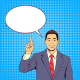 Business Man Point Finger To Chat Bubble Pop Art Colorful Retro Style Stock Photo