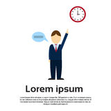 Business Man Point Finger To Clock Time Management Deadline Concept. Flat Vector Illustration Royalty Free Stock Photo