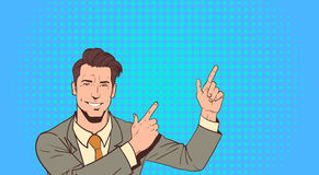 Business Man Point Finger To Copy Space Pop Art Colorful Retro Style Royalty Free Stock Photo