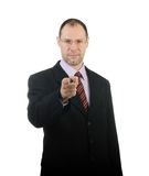 Business man point a finger at you isolated on white Royalty Free Stock Photos