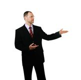 Business man point a hand at side isolated on white Royalty Free Stock Images