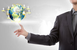 Business man point to earth. Stock Photography