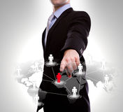 Business man point to social network Royalty Free Stock Image