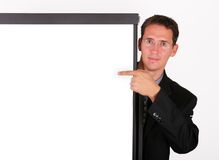 Business Man Point To The Whiteboard Royalty Free Stock Photo