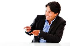 Business man pointing Royalty Free Stock Photos