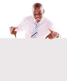 Business man pointing a banner Stock Photo
