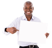 Business man pointing a banner Stock Photos