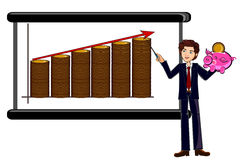 Business man pointing chart Stock Photo