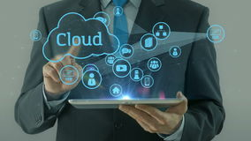Business man pointing on cloud network media concept tablet pad stock footage