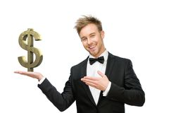 Business man pointing at dollar sign Stock Image
