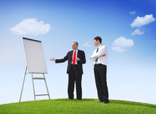 Business Man Pointing Empty Whiteboard Outdoors Royalty Free Stock Images