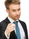 Business man pointing finger gesture Stock Photography