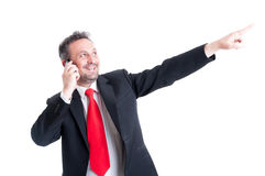 Business man pointing finger up to the future Royalty Free Stock Photography