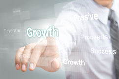 Business man pointing growth concept Royalty Free Stock Photos