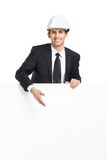 Business man pointing hand gestures at copyspace Royalty Free Stock Image