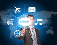Business man pointing her finger at cloud with Royalty Free Stock Photo