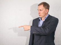 Business man pointing  his finger Royalty Free Stock Photo